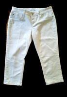 Seven 7 Womens White Jean Capri Cropped Pants Stretch Size 8 Mid Rise