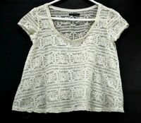 American Eagle Outfitters Women's XS Scoop Neck Sheer Lace Short Sleeve Blouse