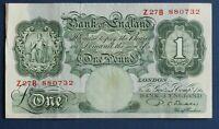 "1950 British Bank of England £1, Banknote, Beale Prefix ""Z27B"" [13567]"