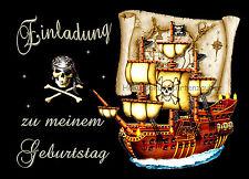 8 Einladungskarten Pirat Piraten Geburtstag Kinder Kindergeburtstag  Einladungen