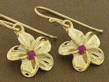 E050- Genuine 9K Yellow Gold Natural Ruby Frangipani Drop Dangle Earrings