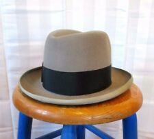 Vintage Homburg by Adam Gray Fur Felt 1950s Grey Hat 6 7/8 Deadstock ? Fedora