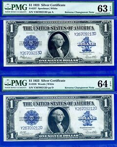 FR-238 & FR-237 - 1923 $1 S/C (( CHANGEOVER Pair )) PMG CHOICE UNC 63/64EPQ.