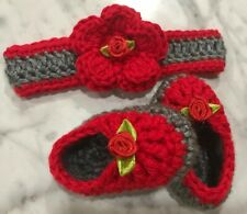 Crochet handmade Baby Girl Headband Booties Set newborn 0-3 Months Red Grey