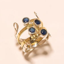 4.90Gm Two Tone 925 Solid Sterling Silver Ring Blue Sapphire Ring Size 8 i-1843