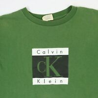 Vtg 90s Calvin Klein T-Shirt LARGE Faded Green Box Logo Spell Out USA Grunge