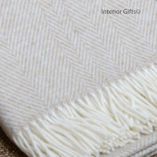 LAMBSWOOL LUXURY *SOFT* BRONTE Herringbone BEIGE & CREAM THROW Pure New Wool