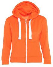 NEW Kids Unisex Girls Boys Plain Hooded Fleece Hoody Zipper Top Coat Years 2to13