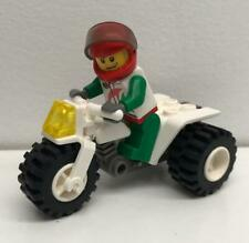 Lego White ATV Racer Guy Minifig Lot: figure bike tricycle city motorcycle