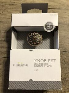 Threshold Knob Set Oil Rubbed Bronze 4 Pack Round Flower