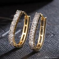 0.50Ct Round Brilliant Cut Diamond Hoop Earrings 14K Yellow Solid Gold Finish