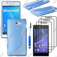 Coque SiliconeS-line Bleu Sony Xperia M2 D2303+Mini Stylet+3 Film écran