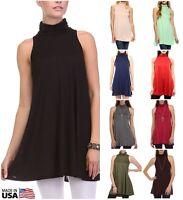 USA Women Solid Mock Neck Turtleneck Tunic Top Sleeveless A-line Trapeze Dress