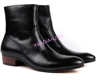 Mens Retro leather British Ankle boots dress shoes Zip Up brown & Black US 37-44