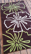 Hand tufted, 1.5cm thick quality Brown Lime floral design rug 80x150cm rug.
