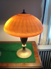 "Antique signed Table Lamp Edward Miller 18"" Glass  Painted Shade orig. Base 1910"