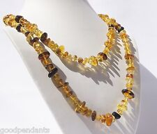 NEW LONG DOMINICAN MARBLED FREE-SHAPED CLEAR RED AMBER PENDANT NECKLACE JEWELRY