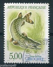 FRANCE - 1990 - timbre 2666, ANIMAUX, POISSONS, BROCHET, oblitéré