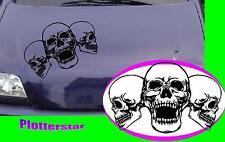 3 Skulls Totenkopf  Motorhaube style tuning  Aufkleber Sticker leider JDM OEM