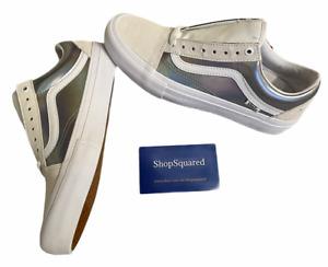 Vans Old Skool Pro (Iridescent) True White Silver Women's Size 10 New NIB ⭐️