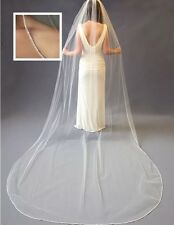 Brides Bridal Ivory Cathedral Veil 1 Tier Soft Swiss Net Crystal Rhinestone Edge