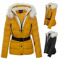 Womens Quilted Zipped Hooded Faux Outdoor Belt Jacket Coat Winter Fur UK8-16