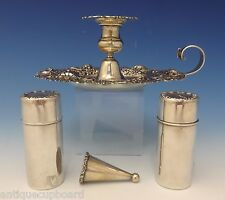 Whiting Sterling Silver Chamber Stick Set 4pc w/Pierced Floral Border (#0727)
