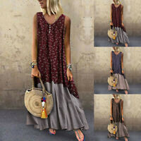 UK Boho Women Cotton Linen Baggy Kaftan Dress Summer Floral Long Dress Plus Size