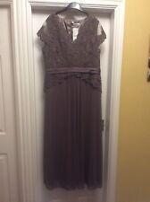 Ladies Long Evening Dress Jaques Vert, Light Brown, Beaded. 16
