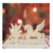 UNICORN & FAIRY 3D GREETING CARD BIRTHDAY POP UP HANDMADE KIRIGAMI - UNIQUE
