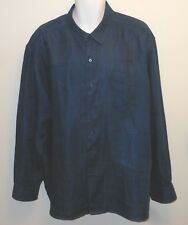 TOMMY BAHAMA DARK BLUE LONG SLEEVES CASUAL LINEN BUTTON DOWN SHIRT. TB8218C6