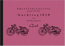 NSU Quick 1936-41, Nachtrag 1950 Ersatzteilliste Ersatzteilkatalog Teilekatalog