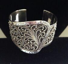 Lois Hill Sterling Silver Cuff Bracelet Wide Retired