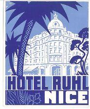Vintage Luggage Label Hotel Ruhl, Nice, France Art Deco