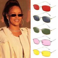UV400 Unisex Sun Glasses Rectangle Sunglasses Small Retro Shades Metal Frame
