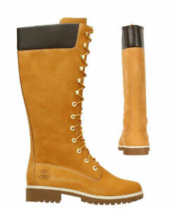 Timberland Premium 14 Inch Lace Up Womens Long Wheat Leather Boots  3752R B8E
