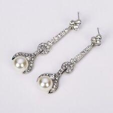 Crystal Pearl Drop Earrings 1920's Vintage Rhinestone Sparkle Bride Wedding 2018
