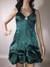 Speechless Formal Dress Size 3 Sexy Short Green Satin Tucked Bubble Skirt Prom