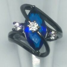 New women's Blue Cubic Zirconia Set In Black Titanium Ring Size 5