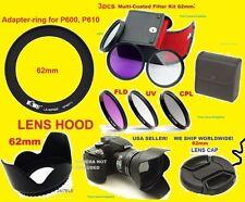 Ring Adapter+Filter Kit+Kapuze+Objektivdeckel 62mm >Nikon Coolpix P600 P610 B700