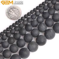 "Natural Gemstone Black Tourmaline Round Frost Matte Beads For Jewelry Making 15"""