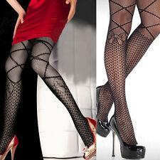 Women Black Net Pantyhose Polka Dot Criss Cross Faux Knee Tights Lolita Costume