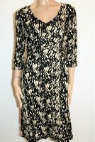 Katies Brand Black Beige Print 3/4 Sleeve Rouch Dress Size L BNWT #RG31