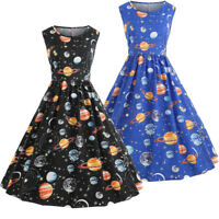 Womens 1950s 60s Vintage Planet Rockabilly Sleeveless Evening Party Swing Dress