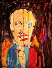 Modernist ABSTRACT Painting GROTESQUE FIGURE Expressionist ART DRAC ATTACK FOLTZ