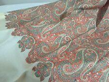 Coral Orange Green Ivory Paisley WOOL Throw Sofa Blanket Afghan with tassel trim