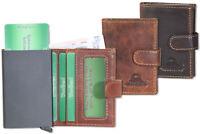 Woodland® Leder Geldbörse mit automatischem Kartenfach aus feinem Büffelleder