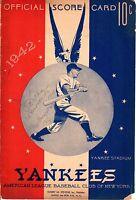 1942 (Sep.20 G1) Baseball program, Boston Red Sox @ New York Yankees, scored~ Pr