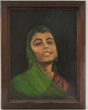 "Vintage Oil Painting on Board Portrait of Woman Framed Art Decor (28"" x 22"")"