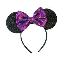 Disney Parks Minnie Mouse Purple sequin Bow Headband Ears/Purple Minnie ears